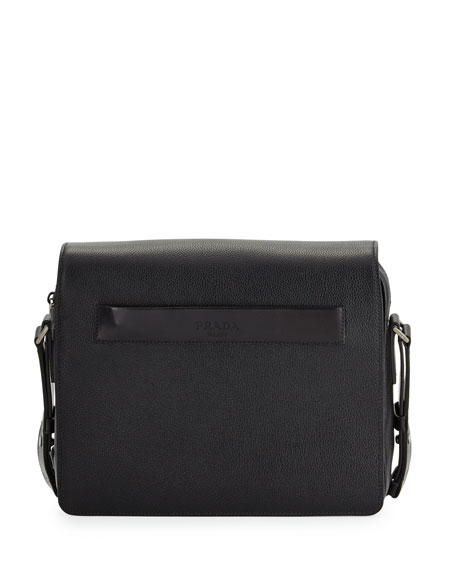 Prada Men's Leather Messenger Bag, Black