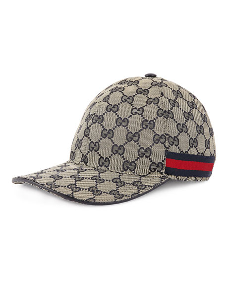 Men's GG Canvas Baseball Hat with Blue/Red Web