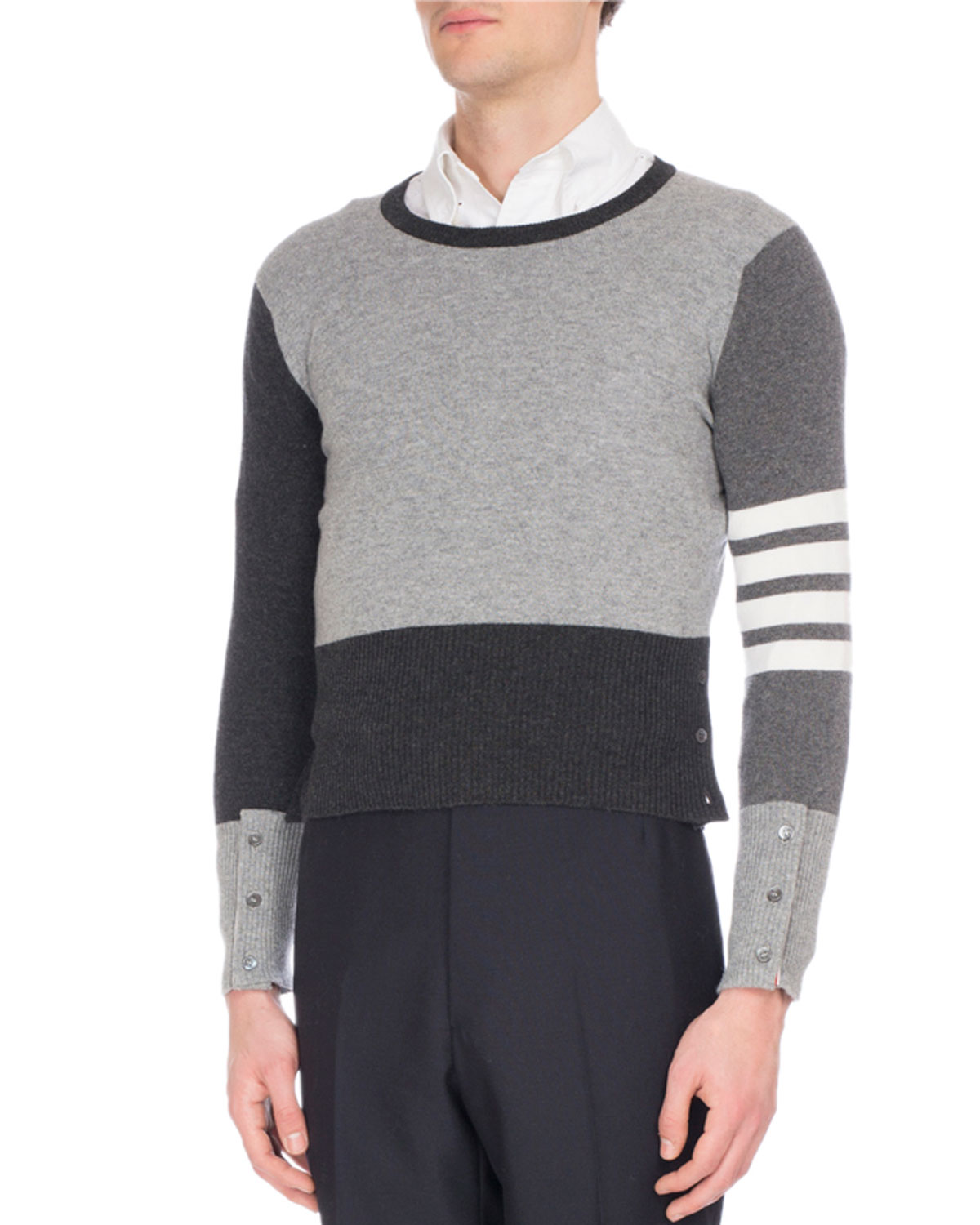 4e1d5844a3 Thom Browne Mix-Knit Cashmere Sweater | Neiman Marcus