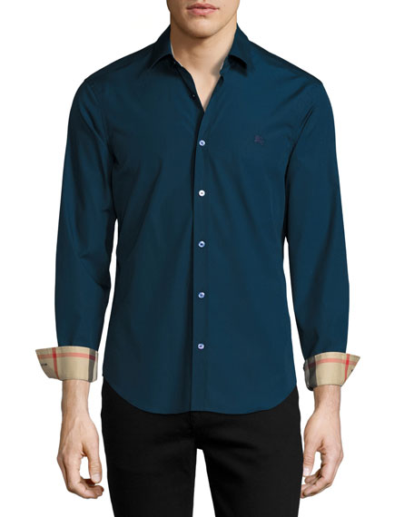 Burberry Cambridge Check-Detail Sport Shirt, Teal