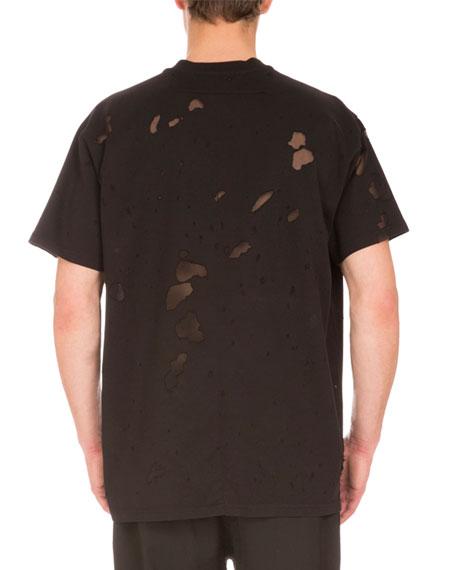 Columbian-Fit Destroyed Logo T-Shirt, Black