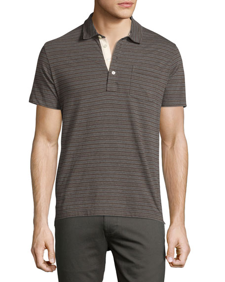 Billy Reid Pensacola Striped Polo Shirt, Gray