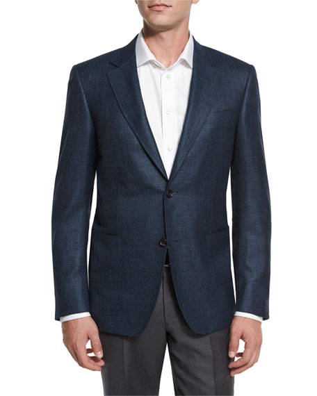Canali Houndstooth Two-Button Sport Coat, Aqua/Navy