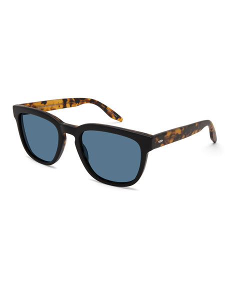 Men's Coltrane Square Acetate Sunglasses, Black/Tortoiseshell