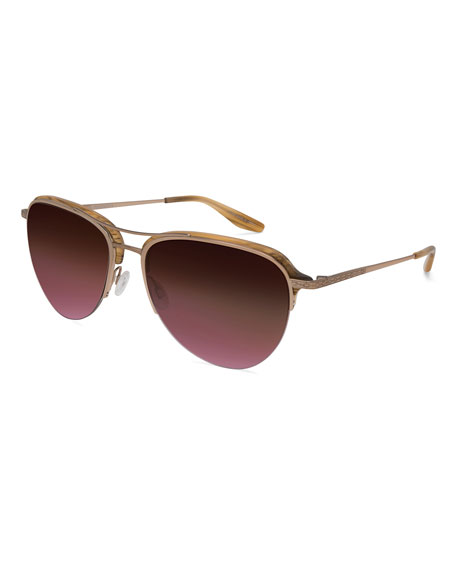 Barton Perreira Airman Half-Rim Aviator Sunglasses, Horn/Rose