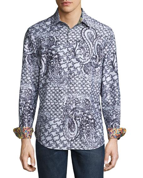 Robert Graham Pradesh Paisley Sport Shirt, Gray