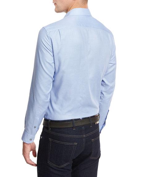 Solid Woven Sport Shirt, Blue