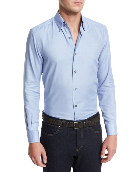 Ermenegildo Zegna Solid Woven Sport Shirt, Blue