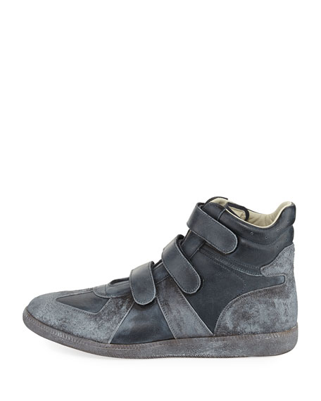 Men's Triple-Strap Burnished Leather & Suede High-Top Sneakers