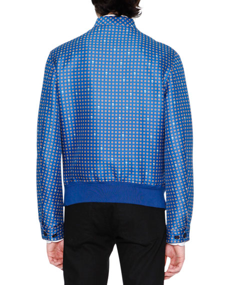 Alexander McQueen Foulard Jacquard Bomber Jacket, Blue/White