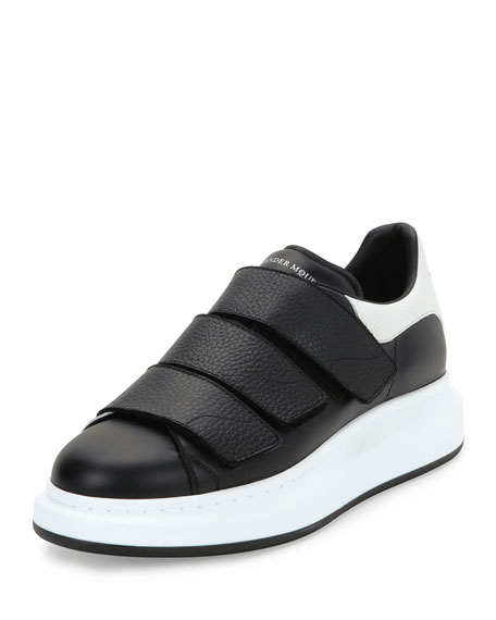 Alexander McQueen Bicolor Leather Trainer Sneakers, Black