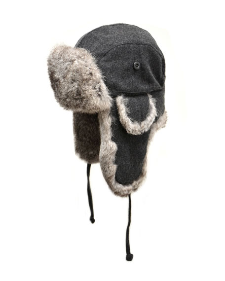 Wool Aviator Hat with Rabbit Fur, Charcoal