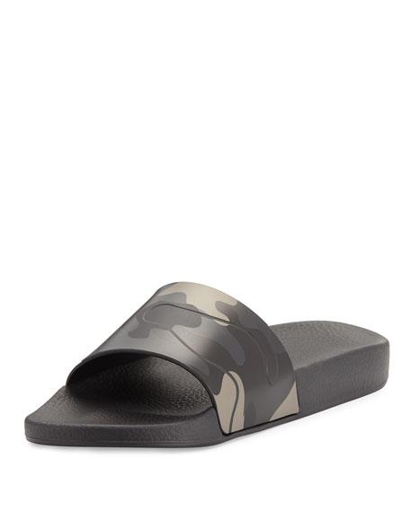 Men's Camo Rubber Slide Sandal, Black