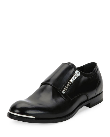Alexander McQueen Zipper Monk-Strap Leather Loafer, Black