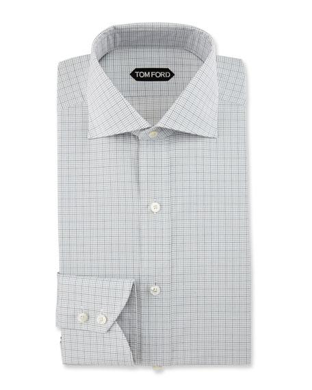 Slim-Fit Grid Check Dress Shirt, Black