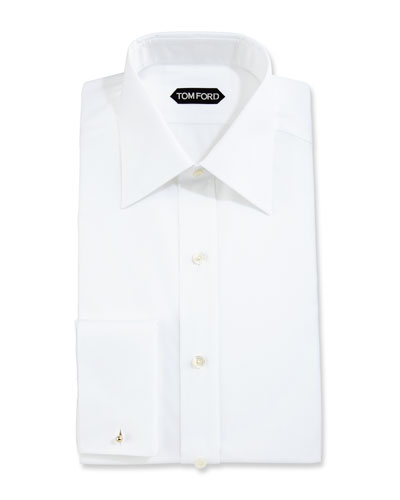 Slim-Fit Solid Dress Shirt  White