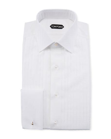 Slim-Fit Plisse Plastron Tuxedo Shirt, White