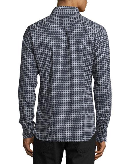 Houndstooth-Print Sport Shirt, Navy