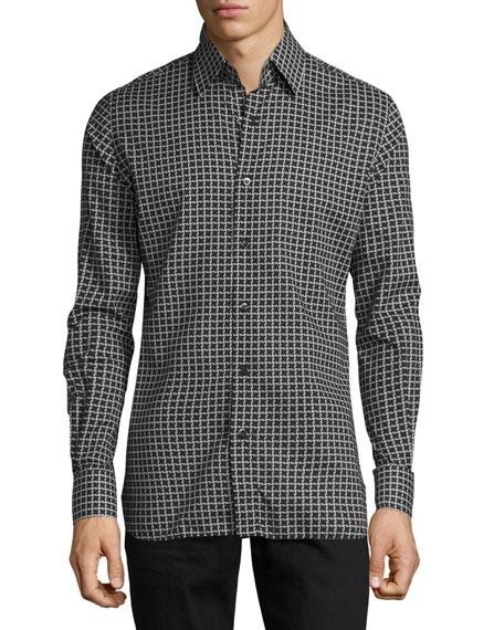 TOM FORD Houndstooth-Print Sport Shirt, Black