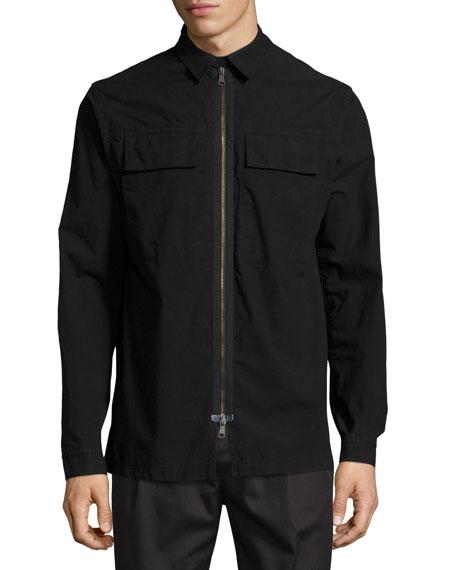 Zip-Front Shirt Jacket, Black