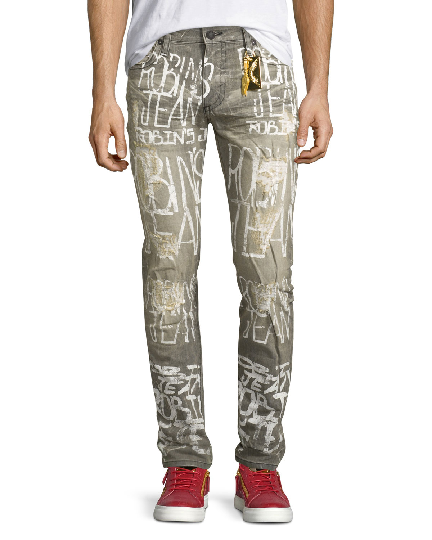Logo Graffiti Paint Skinny Jeans Gray