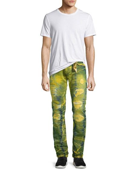 Long-Flap Slim Acid-Wash Jeans, Lime