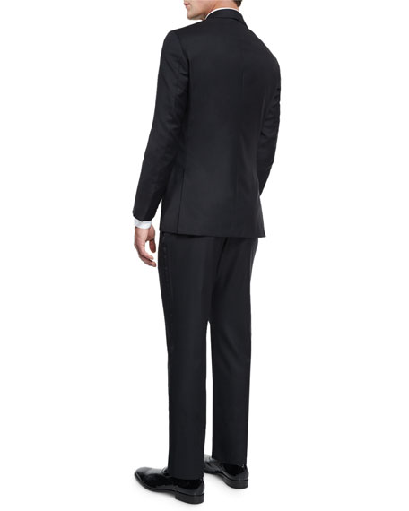 Satin Peak-Lapel One-Button Wool Tuxedo, Black