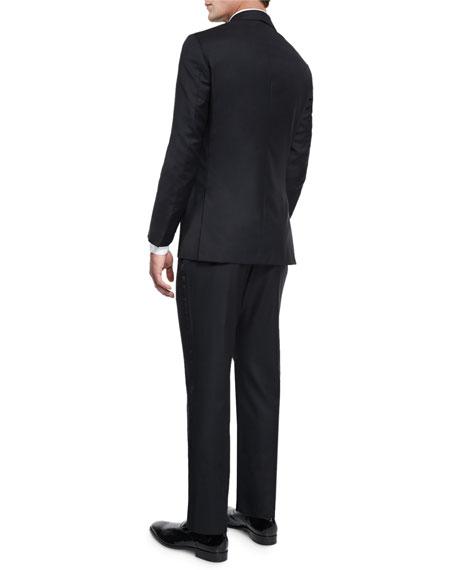 Satin Peak-Lapel One-Button Wool Tuxedo, Black