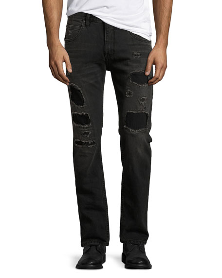 Helmut Lang Mr. 87 Slim-Fit Destroyed Jeans, Black
