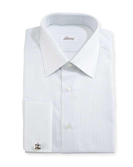 Brioni Satin-Stripe Dress Shirt, White/Light Blue