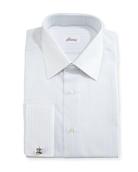 Brioni Satin-Stripe Dress Shirt, White/Light Blue