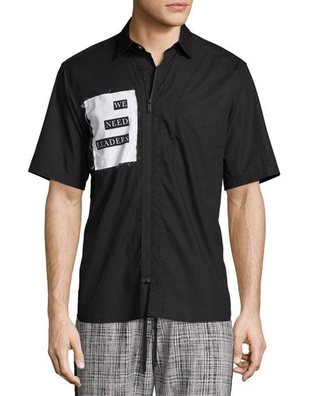 Public School We Need Leaders Short-Sleeve Zip-Front Shirt,