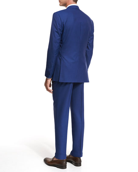 Solid Super 160s Wool Two-Piece Suit, High Blue