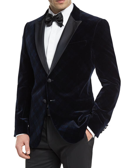 Armani Collezioni M-Line Plaid Velvet Satin-Lapel Jacket