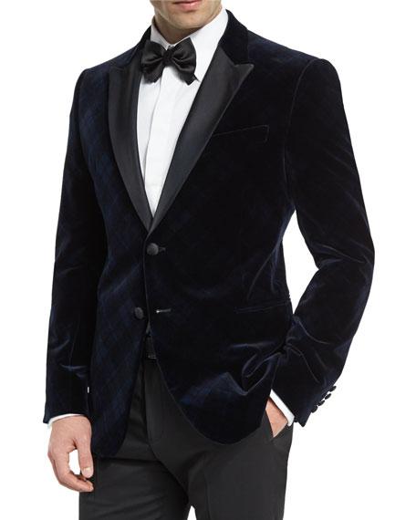Armani Collezioni M-Line Plaid Velvet Satin-Lapel Jacket