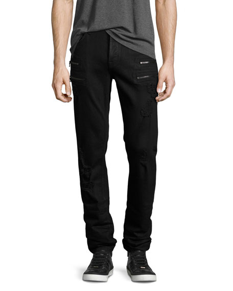 Hudson Broderick Slouchy Skinny Jeans, Black