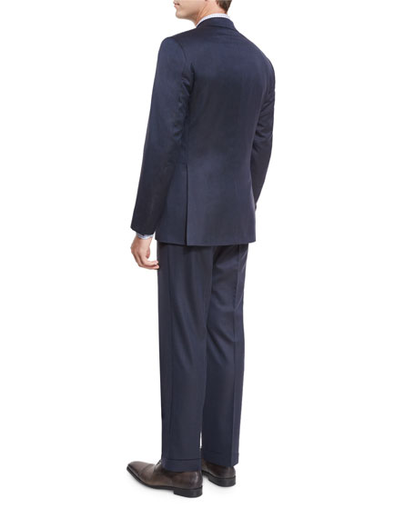 Narrow-Stripe Wool Two-Piece Suit, Navy