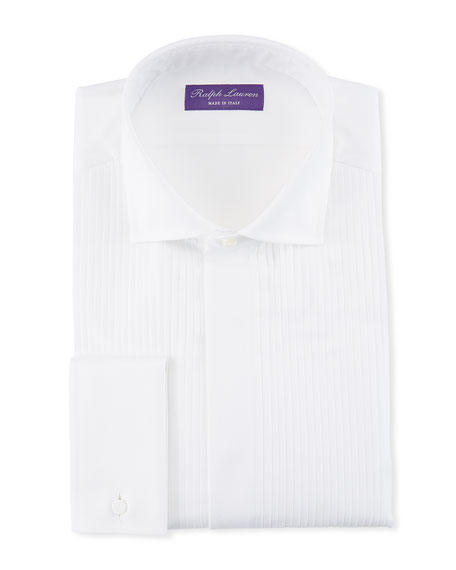 Ralph Lauren Purple Label Basic Pleated French-Cuff Tuxedo Shirt
