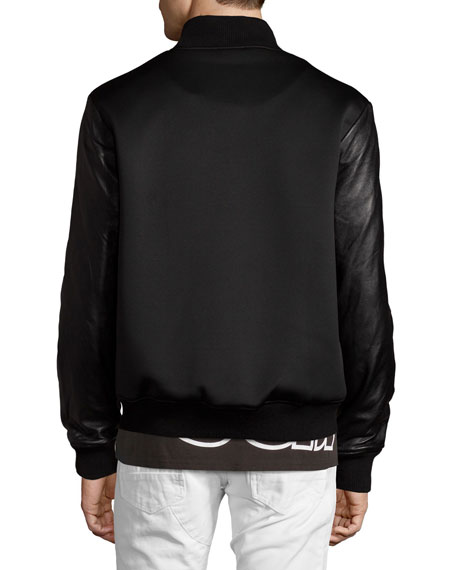 Leather-Sleeve Splatter Bomber Jacket, Black