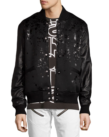 PRPS Leather-Sleeve Splatter Bomber Jacket, Black