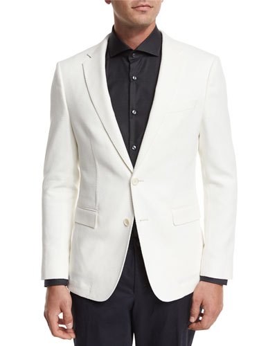 Textured Two-Button Sport Coat, White
