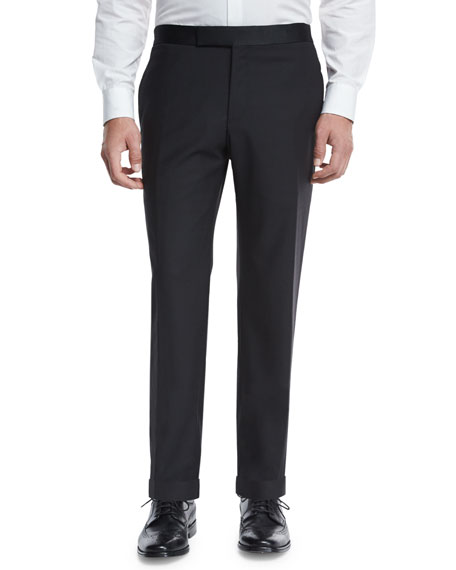 Formal Flat-Front Trousers, Black