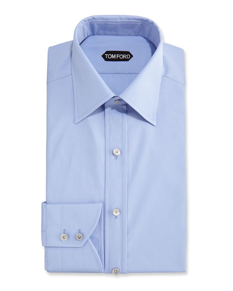 Slim-Fit Classic Dress Shirt, Blue