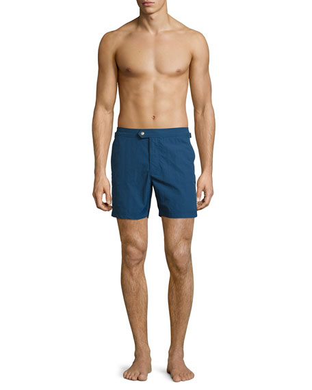 Solid Micro-Faille Swim Trunks, Bright Blue