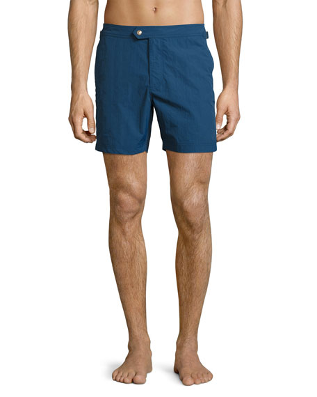 TOM FORD Solid Micro-Faille Swim Trunks, Bright Blue