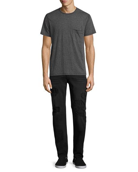 Slimmy Ripped-Repair Slim-Straight Jeans, Black