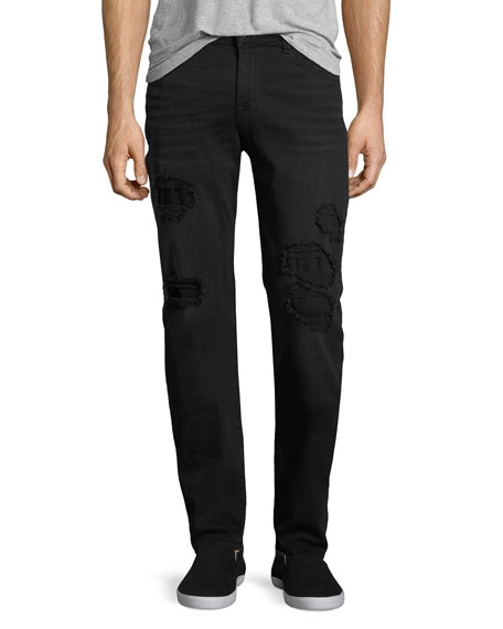 7 For All Mankind Slimmy Ripped-Repair Slim-Straight Jeans,