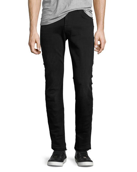 7 For All Mankind Paxtyn Released-Hem Jeans, Black