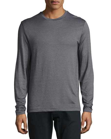 Armani Collezioni Micro-Diamond Long-Sleeve T-Shirt, Gray