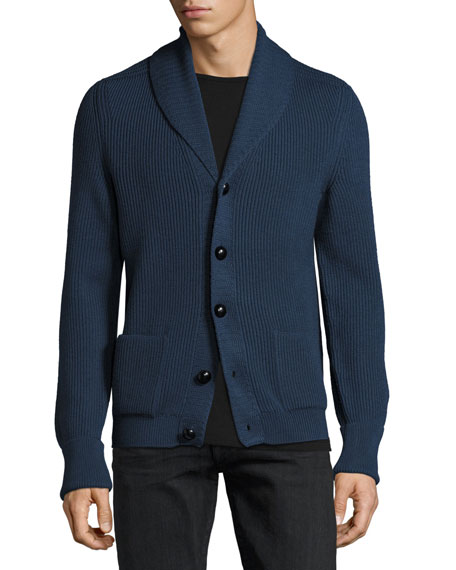Wedgewood Ribbed Wool Cardigan, Blue
